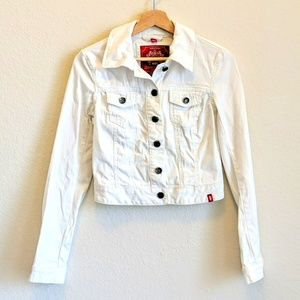 Esprit White Cropped Jeans Jacket size X-small